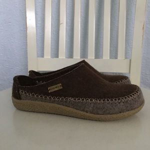 Haflinger Flecther Gray Brown Wool Clogs Slippers